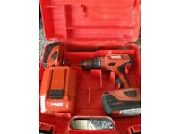 Hilti 22v cordless drill 2x batteries 1x5.2 1x3.3 .handel & case.2016 model ,in very good working