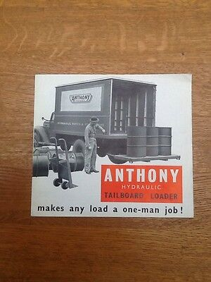 Anthony Hoists Ltd. Brochure From The Early 1950'S