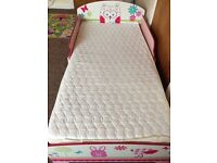 Girl's pink owl toddler bed with mattress