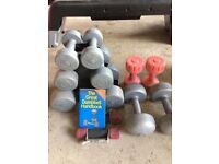 Selection of Light Dumbells with stand.