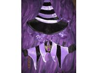 WITCHES PURPLE AND BLACK HAT WITH HAIR MATCHING BELT AND WITCH SHOE COVERS HALLOWEEN PARTY