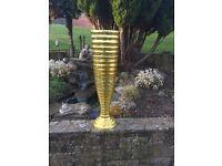Stunning XL Gold Mirror Mosaic Floor standing display Vase. Hotel, wedding, corporate events.