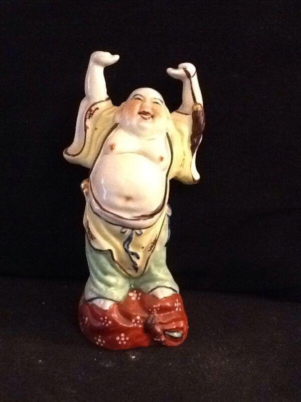 "Vintage Chinese Standing Hands Raised Buddha Pocelain Figurine 8 1/4"" H"