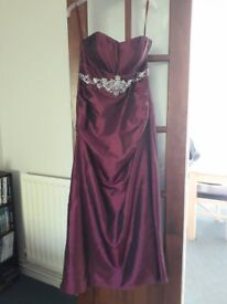 """Strapless burgundy prom dress, size 14, 5' 2"""", worn once, very good condition"""