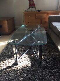 Lovely Glass Top Coffee Table With Silver Legs