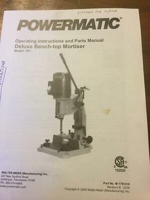 Powermatic Mortiser Instruction Manuel Model 701