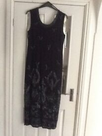 Evening dress size 14/16 Navy with beaded detail