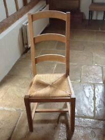 High backed Ash wood chairs with wicker seat