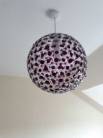 Purple crysalt and silver coloured metal Lamp Shade