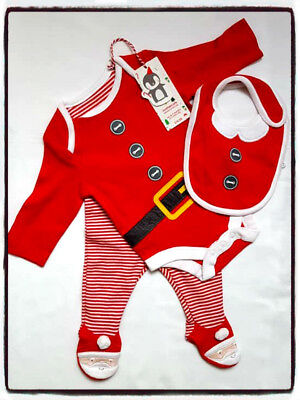 MOTHERCARE Father Christmas 3 piece Outfit up to 1 month 10lbs - 4.5g BNWT