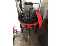 18 Inch charcoal kettle BBQ with chimney starter and cleaning tool
