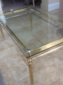 Coffee Table - Brass plated and glass