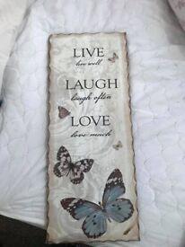 Live Love Laugh Wooden Plaque