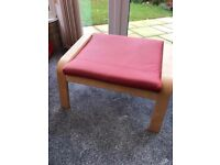 Ikea Poang Footstool Red Cushion, Beech Veneer (3 Poang armchairs also available)