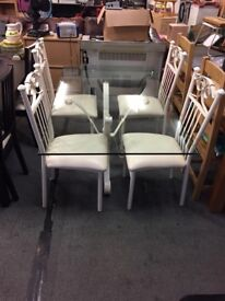 Cream Iron Glass Table & 4 Iron Chairs