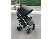 EXDISPLAY IMMACULATE HAUCK SPIRIT BUGGY STROLLER PRAM PUSHCHAIR WITH EXTEDING HOOD BLACK UNISEX £50