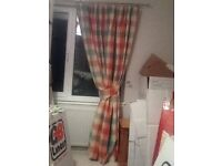 Curtains, red/Ivory/green checked, ex John lewis