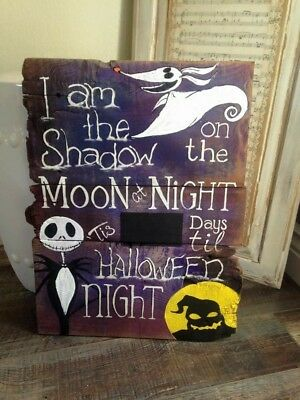 Nightmare Before Christmas Halloween Countdown Wood Pallet Sign  - Christmas Countdown Sign