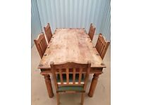 solid heavy pine table and chairs 110