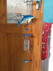 Wooden dolphin windchime