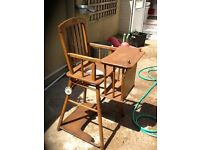 Vintage wooden highchair