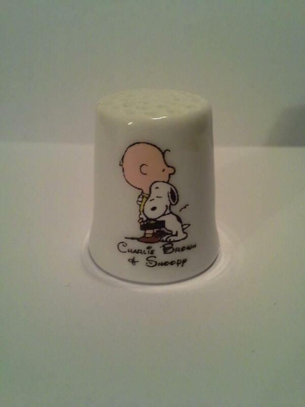 Charlie Brown Snoopy Hugging Collectible Porcelain Thimble