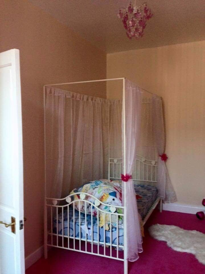 Single 4 Poster Bed Part - 34: Girls Metal Single 4 Poster Bed Frame