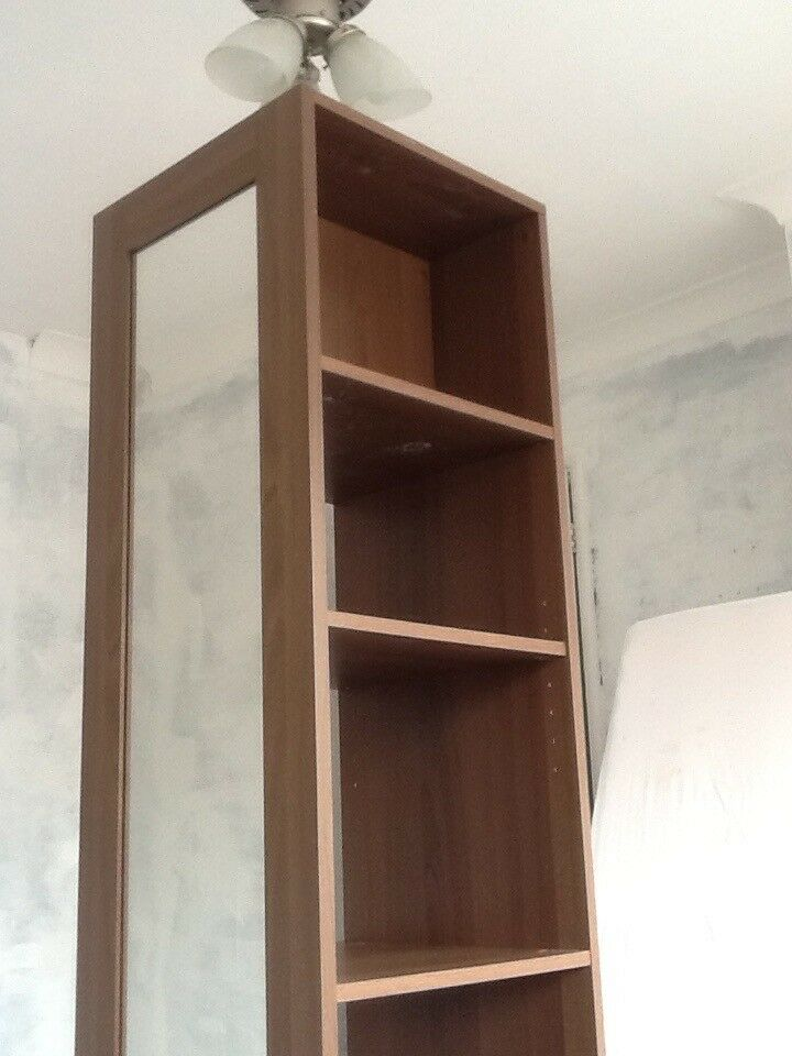 Tall Square Bedroom Shelf Storage Unit With Mirror