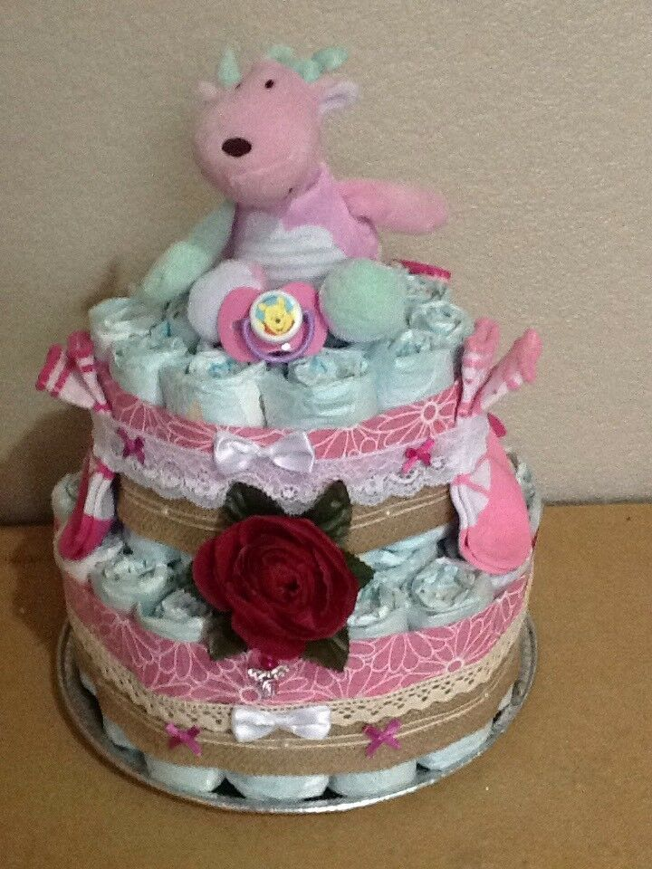 New Baby Girl /Baby Shower Gift/Nappy Cake.