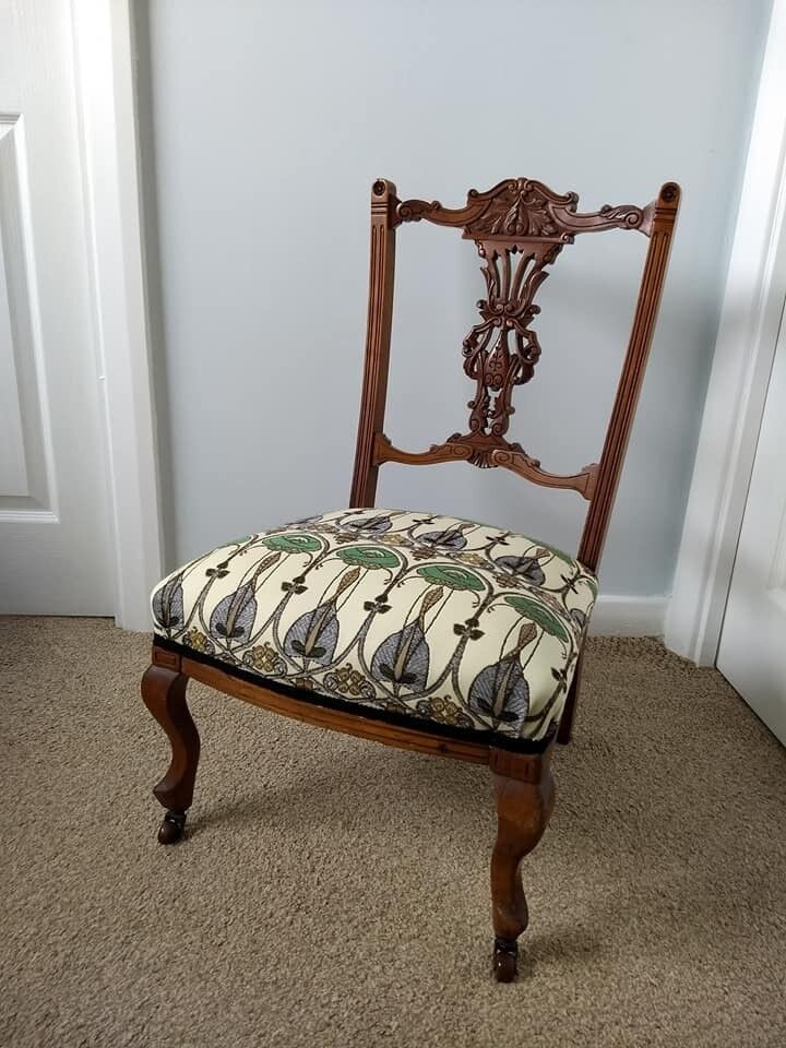 Beautiful Antique Late Victorian Occasional/ Nursing Chair  Newly  Reupholstered.