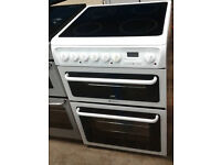 g124 white hotpoint 60cm double oven ceramic hob electric cooker comes with warranty can deliver