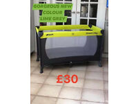 Brand new in box Hauck travel cot with mattress birth to 15 kg in grey lime £29.9