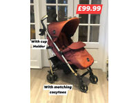 brand new in box icoo Pace luxury pram pushchair with cosytoes rain cover and cup holder in mocha.