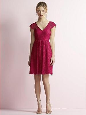 Jenny Yoo Short Cap Sleeve Marquis Lace Red Sz 12 Bridesmaids Prom Dress JY509