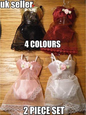 Barbie Sindy Doll's Lingerie Underwear Camisole Knickers 2 Piece Set 4 Colours
