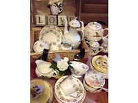Vintage china, cake stands, tea party hire.