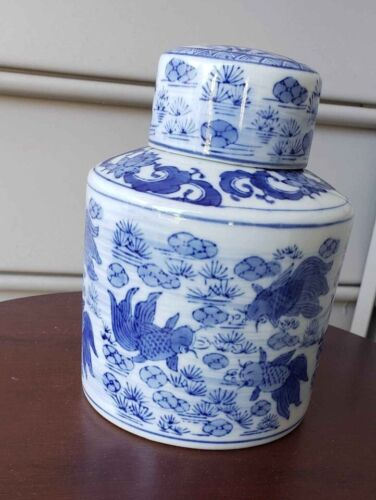 Vintage Blue and Koi Fish Ginger Jar Chinese Handpainted Porcelain