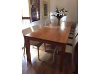 Stunning 3 meter long SOLID OAK contemporary dining table with 10 chairs! ONO