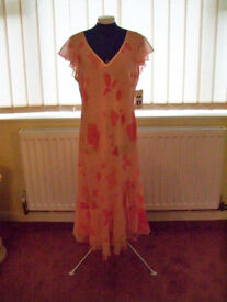 Salmon flower Evening/Summer Dress - ID Collection Size 18 UK New Without Tags