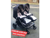 new hauck rapid 3 r duo side by sid e twin pram pushchair with cosytoes &raincover