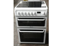 E430 white hotpoint 60cm double oven ceramic hob electric cooker comes with warranty