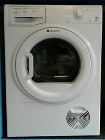 a053 white hotpoint 7.5kg condenser dryer comes with warranty can be delivered or collected