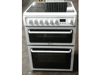 D430 white hotpoint 60cm double oven ceramic hob electric cooker comes with warranty can deliver