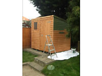 Garden shed - dismantled ready for use. Good condition Fully painted green as in the picture.