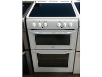 b682 white belling 55cm ceramic hob double oven electric cooker comes with warranty can be delivered