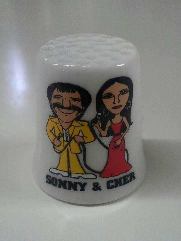 Up4Bid Sonny & Cher Collectible Porcelain Thimble