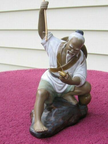 "8"" Asian Mudman Glazed Clay Pottery Figurine #25 Lucky Fisherman Pole Fish~h"