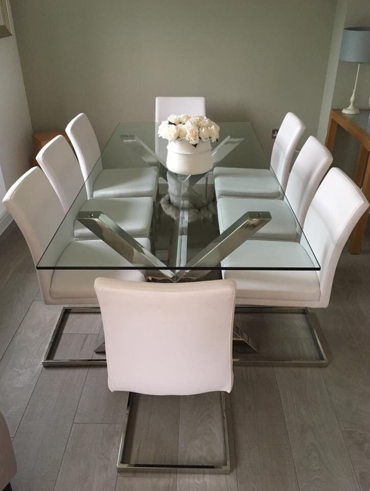 ad0f38379794 Brand New Show Home Designer Large Glass Dining Table and 8 Chairs