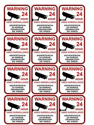 Lot Of 12 Video Surveillance Security Decal Warning Window Home Sticker Signs