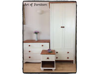 Kids bedroom furniture set Wardrobe chest of drawers bedside table hand painted in Cream chalk paint